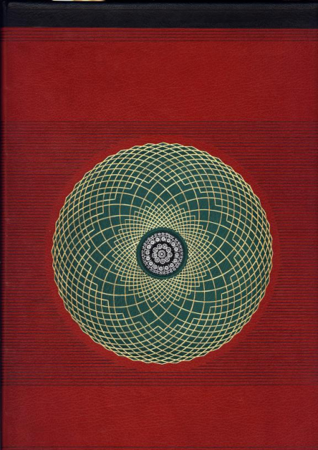 The spine and front cover bound in a deep red colour with a geometric circle at the centre of the cover. The circle has a background in deep forest green, with gold geometric shapes running through it--similar to a mandala.