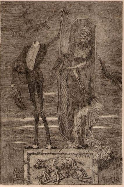 A headless skeleton in male evening dress opening a coffin to reveal an elegantly-dressed female skeleton