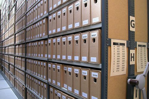 Photograph of shelves of archival boxes