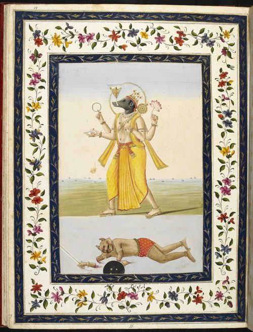 An opening from Volume 1 on Hindu mythology showing Varaha the boar avatar, bearing on the tip of his tusk the Earth depicted as a cone containing mountains and sky with the goddess within it, the demon Hiranyaksa lying supine below, his arms cut off. Lucknow, c. 1780. British Library, Or.4769, f. 11