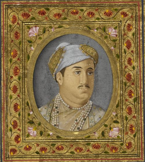 Portrait of Asaf al-Daula, Navab of Avadh by Mihr Chand, 1773-75. British Library, Add.Or.4390