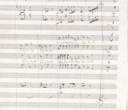 Page of the music manuscript of La belle Helénè