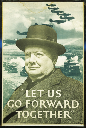 World War II propaganda poster featuring Winston Churchill