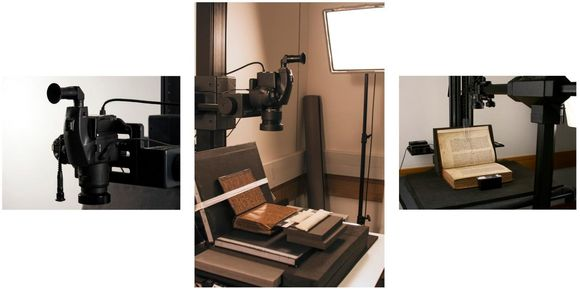 Three images in a row. On the left is a camera mounted to a photo stand. The centre image is a wider shot of the photo stand showing the camera mounted above a book which is being photographed. On the right there is another book being photographed. The books are held at a 90 degree angle, so the page being imaged is flat, and the other side of the book is strapped to a soft cradle.