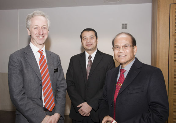 The Chief Executive of the British Library, with Ambassador of the Lao Embassy and the third Secretary.