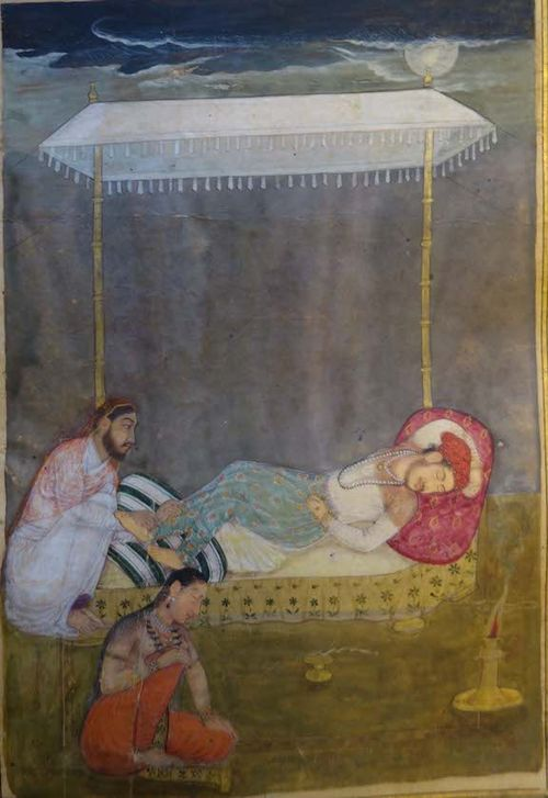 A servant girl has fallen asleep while massaging the feet of a sleeping king, whereupon a thief carries on the massage until the king turns over and the thief can steal the jewel-encrusted fish from beneath his pillow.  Mughal, 1700-20.  BL IO Islamic 1408, f. 136