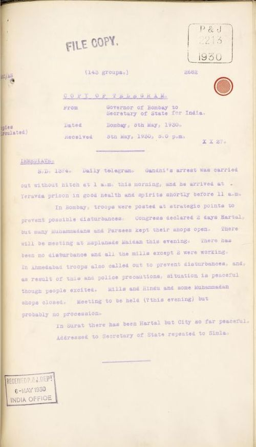Telegram from the Governor of Bombay to the Secretary of State for India, 5 May 1930