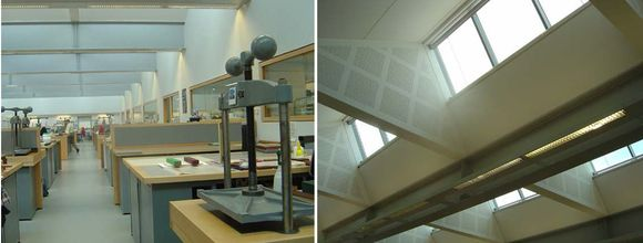 Two images side by side: One the left, an image showing the conservation work benches along the length of the room. Metal book presses rest at each bench. On the right: The windows which allow lots of natural light in.