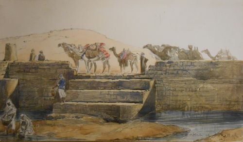 Watercolour of camels by Anne Blunt