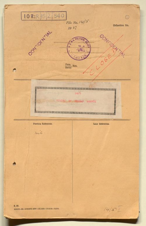 Cover of the file 'Visits of German Agents'
