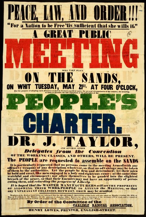 Poster for public meeting for the People's Charter, Carlisle, 1839