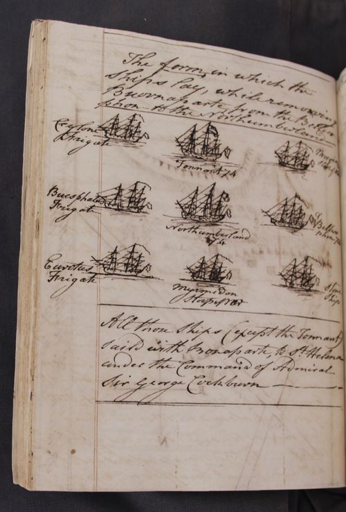 'The form in which the ships lay, while removing Buounaparte from the Bellerophon to the Northumberland'