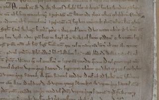 A closeup of the text along the right hand side of the Magna Carta. Text runs in horizontal lines across the image.