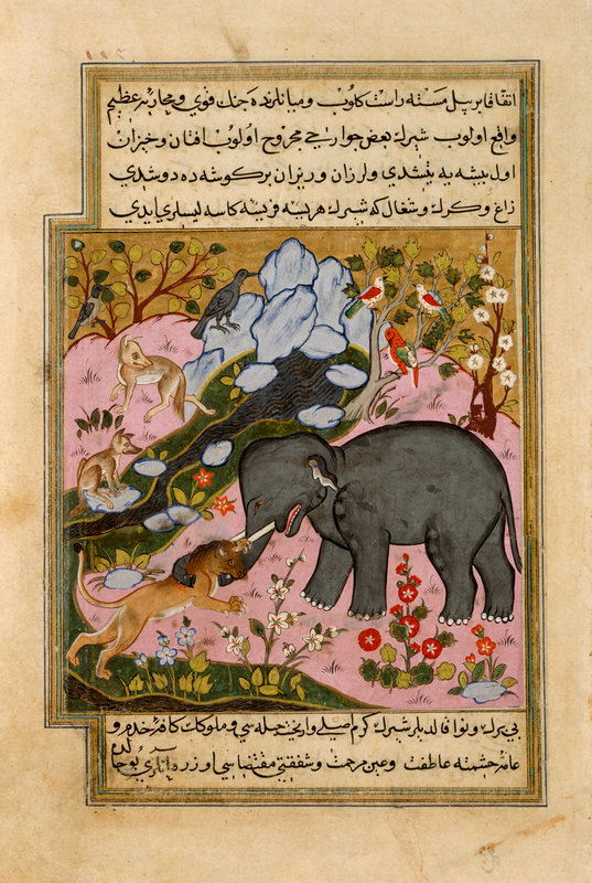 An elephant which was lured by the crow, jackal and wolf to provide a meal for the lion which is shown biting its trunk. ca. 1589 (Add. 15153, f.114)