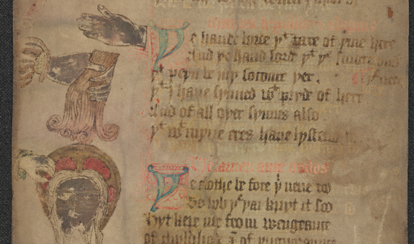 A closeup of a parchment scroll featuring text plus drawings on the left hand side: a hand grabbing a lock of hair and a man's face.