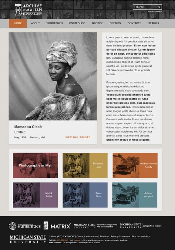 Home page of the Malian Photography website