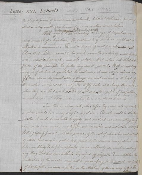Page from Jeremy Bentham's Draft of Panopticon, or the Inspection House
