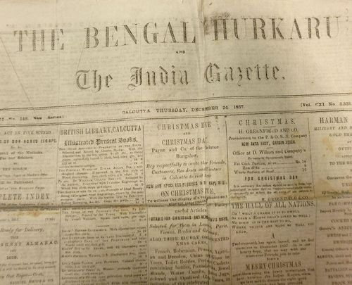 Front page of The Bengal Hurkaru and the Indian Gazette 24 December 1857