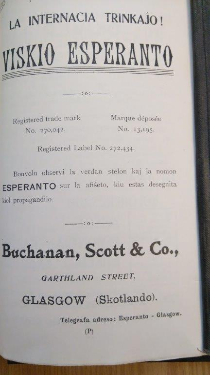 Advertisement for 'Esperanto Whisky'
