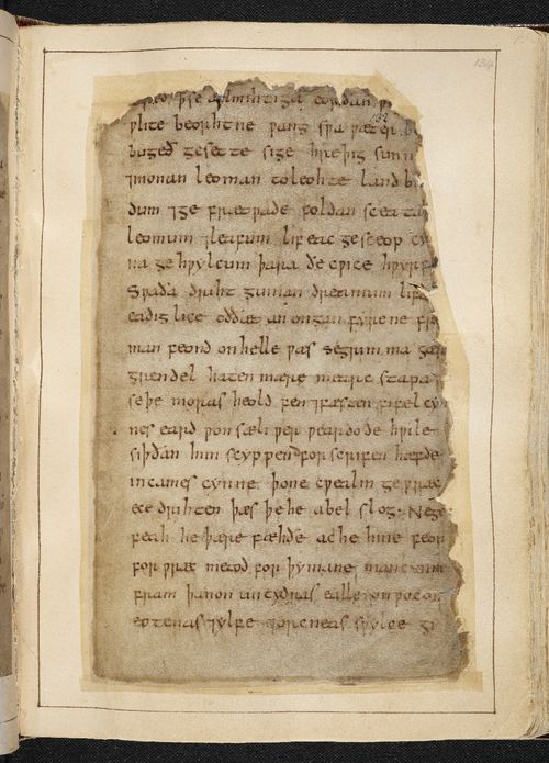 A page from the Beowulf Manuscript, showing a passage that mentions elves.