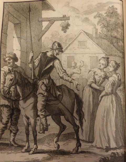 Don Quixote on horseback greets two women