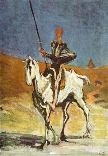 Painting of Don Quixote on horseback in a landscape