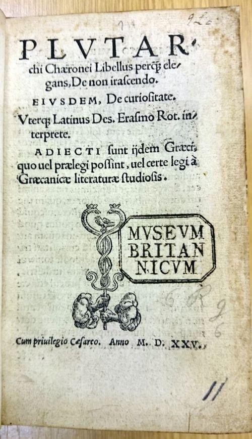 Title page of  'Libellus ... de non irascendo'