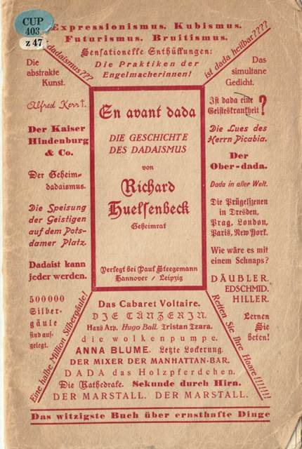 Cover of 'En Avant Dada' printed in red using a mixture of typefaces