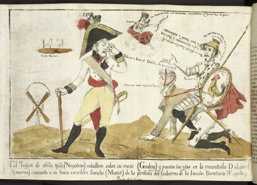 Caricature of Napoleon as Don Quixote and Joachim Murat as Sancho Panza
