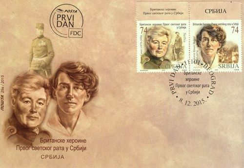Stamps with portraits of Flora Sandes and Katherine MacPhail