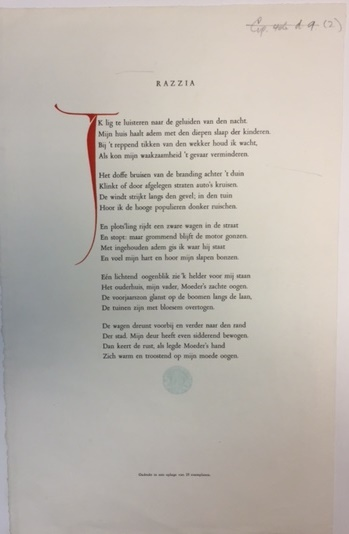Printed poem 'Razzia', with a large initial letter in red