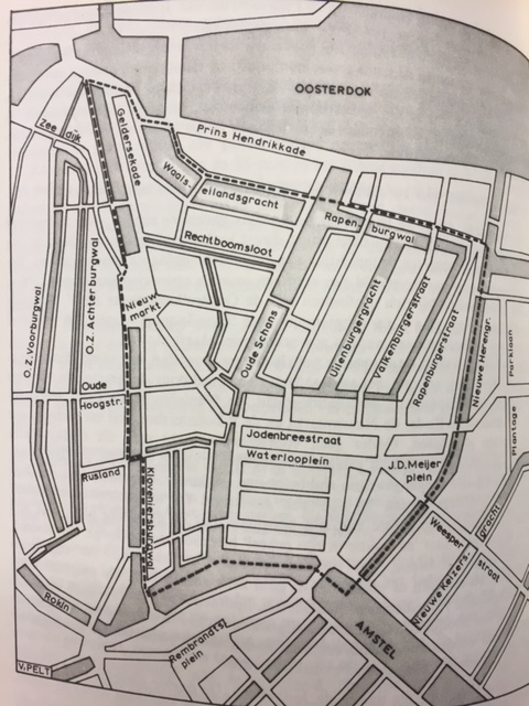 Map of Amsterdam showing the sealed-off area of the Jewish quarter in 1941