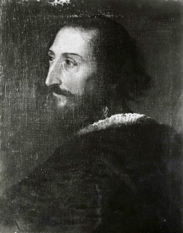 Black-and-white photograph of a lost portrait by Titian of a bearded man