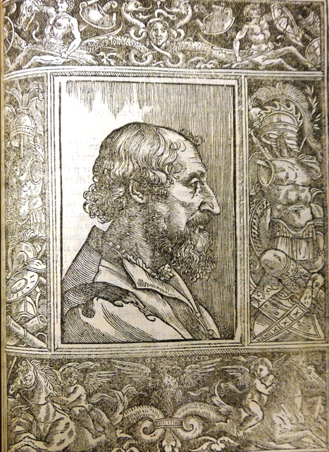 Woodcut engraving of Ariosto in a decorative border