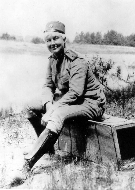 Photograph of Flora Sandes in Serbian Army uniform