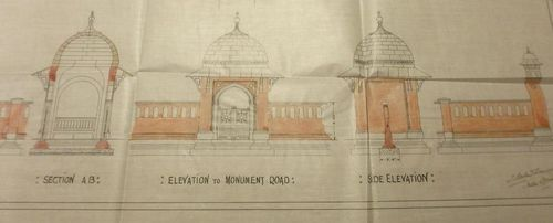 Woking Mosque - plan of elevation to Monument Road