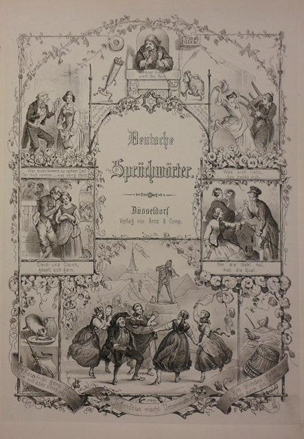Title Page of 'Deutsche Sprüchwörter und Spruchreden in Bildern und Gedichten' with an illustrated border of vignettes depicting proverbs
