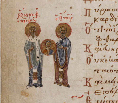 A detail from the Theodore Psalter, showing a marginal illustration of Theodore the Studite.