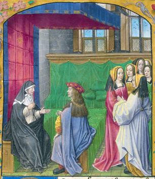 A detail from a medieval manuscript, showing an illustration of Heloise instructing a pupil.