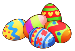 Brighly coloured Easter eggs