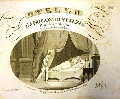 Title page of Rossini's 'Otello' with an engraving of Othello approaching a sleeping Desdemona