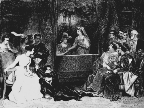 Illustration of the performance of the play-within-the-play from 'Hamlet'
