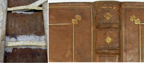 Left: Strips of white Japanese tissue are added to the spine for reinforcement. Right: Toned Japanese tissue to match the brown leather has been added to the leather cover for support.