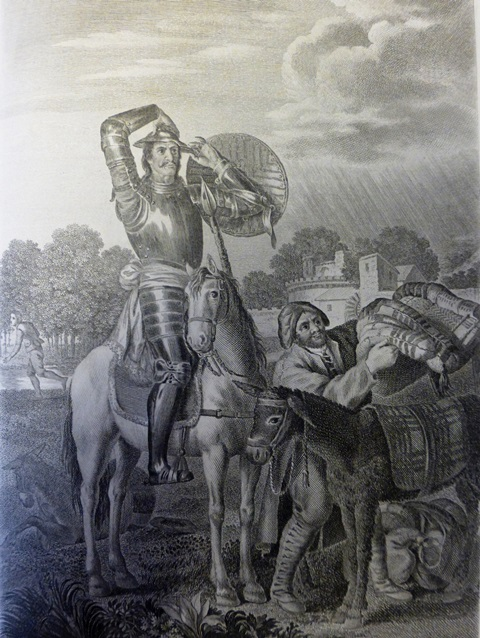 Don Quixote looks on while Sancho places a seized packsaddle on his donkey