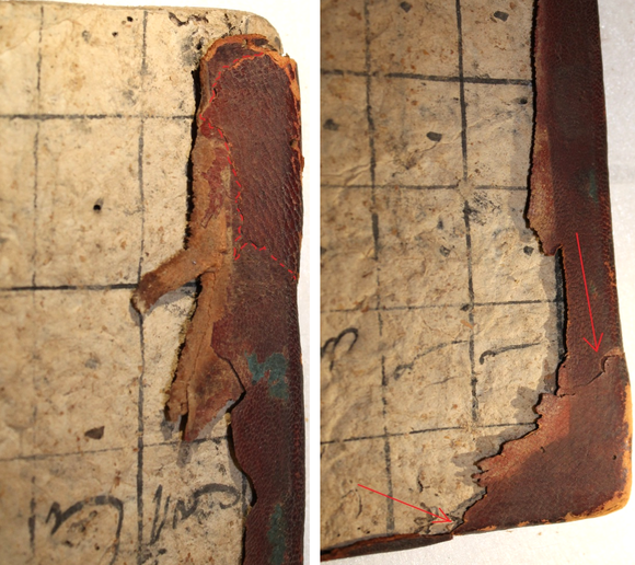 Two close-up images showing different types of leather overlapping one another.