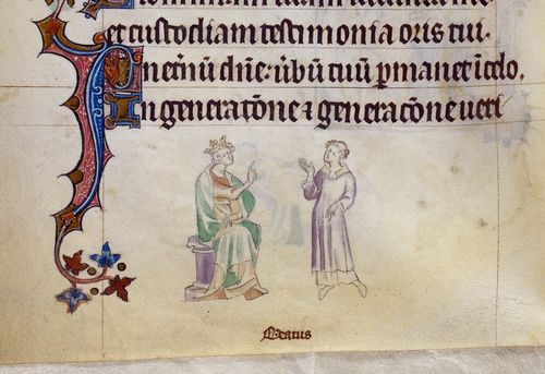 A detail from the Queen Mary Psalter, showing a marginal illustration of St Pancras and the Emperor Diocletian.