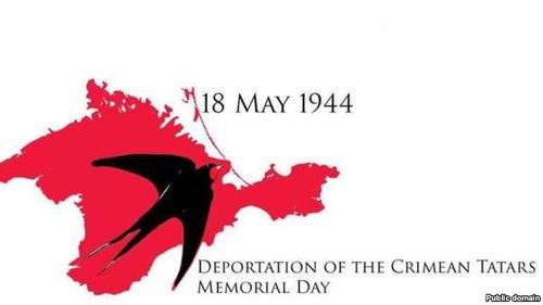Logo of Deportation of the Crimean Tatars memorial day: a swallow superimposed on a red map of Crimea