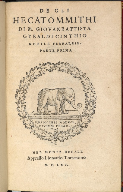 Title-page of 'De gli Hecatommithi' with the printer's device of an elephant