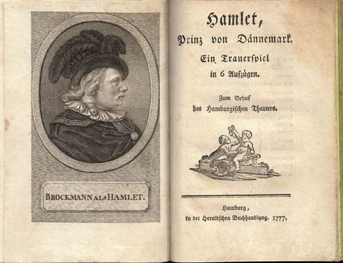 Title-page of Schroeder's version of Hamlet, with a frontispiece portrait of Franz Brockmann in the title role