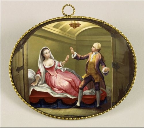 Enamel medallion featuring George Anne Bellamy with David Garrick, as Romeo and Juliet